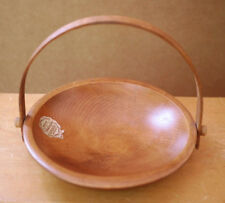 Vintage MID CENTURY Woodcroftery Solid Wood Salad Fruit Bowl w/ Oak Handle 9""