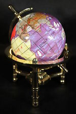 Genuine Multi-Gemstone Desktop Globe Gold Tone Base Purple Pearl Globe Free S&H