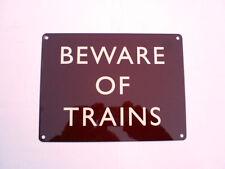 BEWARE TRAINS TRAIN STATION PLATFORM STEAM ENGINE MODEL RAILWAY METAL WALL SIGN
