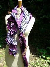 Silk Scarf Stole Samtschal with Silk Scarf New Violet