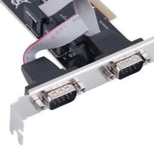 2 Ports Dual Bidirectional RS-232 DB9 9-pin Serial Port to PCI I/O Card Adapter