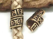 PERLA DE BARBA PERLA DE PELO CON Futhark RUNAS bronce ø 8mm Dreads vikingo-celta