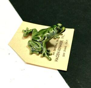 Vintage HAGEN-RENAKER Green Ceramic TREE FROG Toad FIGURINE Original Card S92