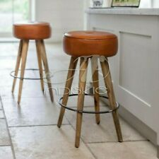 Industrial Leather Brown Round Tan Leather Tufted Bar Counter Stool Solid Wood