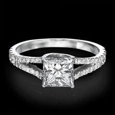 1 CT Diamond Engagement Ring Princess Cut D/VS 14K White Gold Enhanced