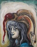 Enrique Agramonte La Nena Acrylic Canvas 14X11 Cuban Art Original Painting
