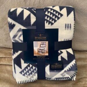 Pendleton Jacquard Throw Blanket Westward Journey Blue White Print Blanket NWT