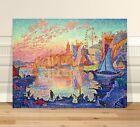 """Paul Signac The Port of Saint Tropez ~ FINE ART CANVAS PRINT 18x12"""""""