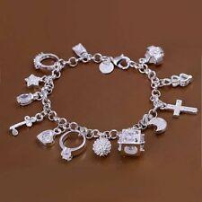 925 Silber überzogenes Armband Charm Armband Kette Zirkonia Herz Ring Kreuz Ster