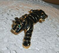 Vintage Black Enamel TIGER BIG CAT Shoulder Brooch Pin Rhinestone Gold-tone A19