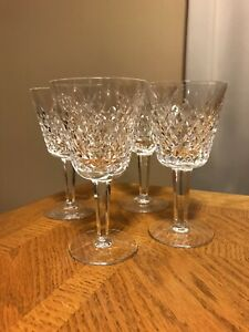 """4 WATERFORD Crystal Alana Pattern Claret Wine Glasses 5 7/8""""H 3 1/4""""W Signed"""
