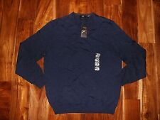 NWT Mens CALVIN KLEIN Navy Light Weight Merino Wool V-Neck Sweater Size M Medium