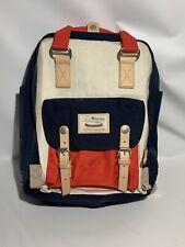"""Himawari School Waterproof Backpack 14.9"""" College Travel Bag Red White & Blue"""