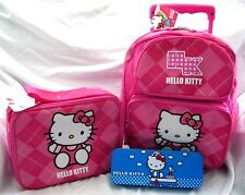 "Hello Kitty Pink 12"" Rolling Backpack & Matching Lunchbox Lunch Bag+Pencil Case"