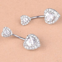 BG_ KE_ HOT Heart Shape Women Navel Bar Barbell Belly Button Ring Piercing Jewel