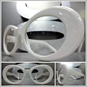 Men or Women VINTAGE RETRO Style Clear Lens Eye Glasses White Oval Fashion Frame