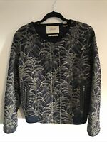 MAISON SCOTCHBomber Jacket Size 2 Navy Leaf Design