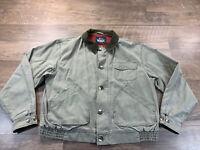 Woolrich Light Canvss Lined Jacket Mens XL Button Zip