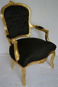 LOUIS XV ARM CHAIR FRENCH STYLE CHAIR VINTAGE FURNITURE BLACK VELVET GOLD WOOD
