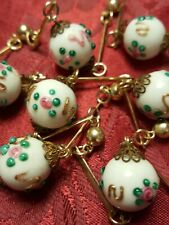 VTG Mille Fiori Milk Glass hand painted ball beads/gold tone link dividers chain
