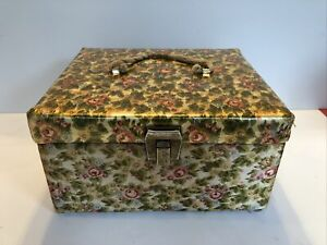 Vintage Retro Sewing Box Storage Basket Quilted Metal Lock Fabric Handle Crafts