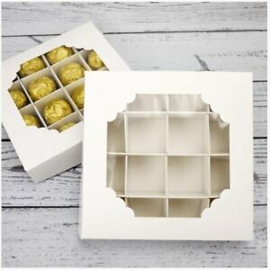 WHITE PICK & MIX SWEET BOX EMPTY BOX WITH WINDOW PACKAGING CHOCOLATE TRAY X1