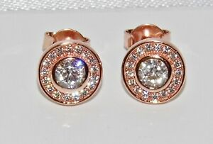 9ct Rose Gold on Silver Halo Cluster Stud Earrings