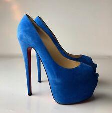 Christian Louboutin Highness 160 Veau Velours Bleu Saphir Blue Suede Heels 38.5