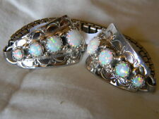 Spectacular sterling silver Navajo ladies watch band 8 white fire opals