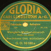 "WOITSCHACH ""Wenglein-Weltenbundmarsch"" GLORIA w. Sheet & Sleeve MINT 78rpm WWII"