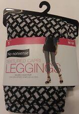 NEW!! No nonsense®  Textured Capri Leggings White/Black Size M