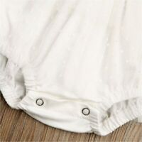 Newborn Infant Baby Girls Butterfly Sleeve Romper Clothes, White, Size 0.0 wCCN