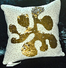 Gorgeous JONATHAN ADLER  CUSHION / PILLOW Ivory Velvet AMOEBA + Gold Adornment