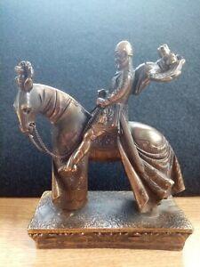 Figur bronziert Ritter auf Pferd/Alter unbekannt