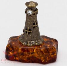 Solid Brass Amber Figurine Lighthouse Ironwork
