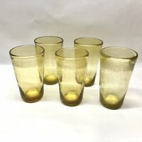 Yellow Mexican Bubble Glass Tumbler Glasses, Hand-blown, 5 Pieces