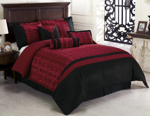 Chezmoi Collection Dynasty Jacquard 7-Piece Comforter Set Black/Red Queen