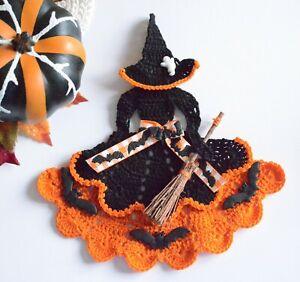 Crinoline Lady Witch Hand Crochet Doily / Black & Orange / Halloween