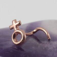 Curved Nose Stud Screw Rose Gold Plate Symbol Of Venus Female Gender Motif 20g
