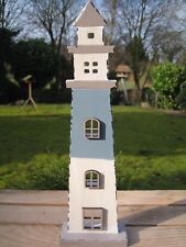 "Shabby Deko ""Leuchtturm"" 37 cm groß maritime Deko Lighthouse blau weiß Meer See"