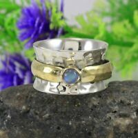 Rainbow Moonstone Solid 925 Sterling Silver Spinner Ring Statement Ring Size r22