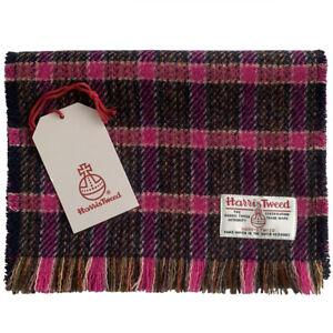 Harris Tweed Pink & Fuchsia Tartan Check Luxury Pure Wool Fringed Scarf