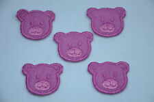 5 X PURPLE TEDDY BEAR FACES Embroidered Iron Sew On Cloth Patch Badge APPLIQUE