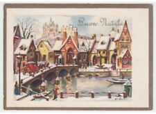 1964 G Card Merry Christmas Country Snowy Carriage Bridge on River