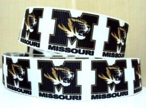 By the Yard 7/8 Inch Printed Missouri Tigers Football Grosgrain Ribbon Lisa
