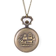 Vintage Steampunk Retro Bronze Pocket Watch Quartz Pendant Necklace Chain Gifts #10