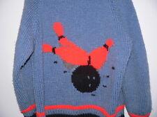vtg Bowling Pin Sweater Cowichan Zipper Cardigan Mary Maxim Knit M L Blue 50's
