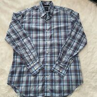 Tailorbyrd Collection Mens Size Large Long Sleeve Button Down Blue & Red Shirt