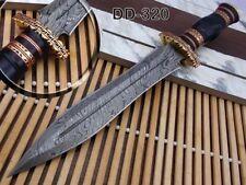 BEAUTIFUL CUSTOM HAND MADE DAMASCUS STEEL HUNTING DAGGER KNIFE WORK OF ART HORN