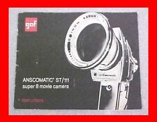 GAF ANSCOMATIC ST/111 SUPER 8 MOVIE FILM CAMERA INFO MANUAL BOOKLET + FREE S&H